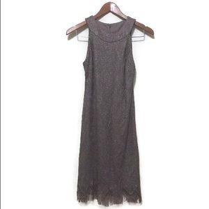 Dressbarn mauve metallic fringe flapper dress
